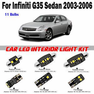 11pcs Deluxe White LED Interior Dome Light Kit For Infiniti G35 Sedan 2003-2006