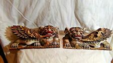 PAIR AQNTIQUE 18c-19c CHINESE WOOD CARVED GILT TEMPLE FOO-DOG STATUES