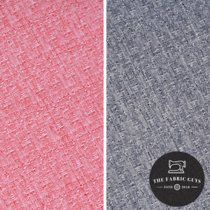 Premium Suiting Fabric, Denim Style Polyester, Pink/Blue, 150cm Wide