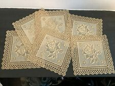 More details for vintage waxed fabric coasters, set of 6, rose design, gold & cream, very retro!
