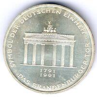 "BRD 10 Mark 1991 A. ""Brandenburger Tor"" J.452, kl. Kratzer, vz+ zu vz/st (22102)"