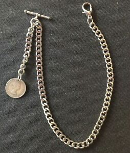 "Silver colour Albert pocket watch chain with a ""Lucky"" ER II sixpence fob"