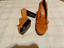 american eagle eleanor brown suede leather fringe heels shoes size 8 1/2