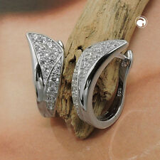 925 Sterlingsilber Ohrringe Silbercreolen Creole Zirkonia rhodiniert Silber