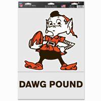 """CLEVELAND BROWNS 2 PIECE ELF DAWG POUND DECALS 11""""X17"""" NFL LICENSED EXCLUSIVE"""