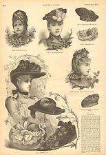 Winter Hats, Ladies Fashion, Victorian, w/text, Vintage 1890 Antique Art Print