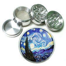 Vincent Van Gogh Starry Night Metal Silver Aluminum Grinder D141 63mm Herb Spice