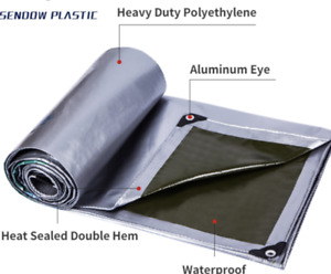 STRONG SILVER Tarpaulin Extra Heavy Duty Waterproof Cover Ground Sheet 150GSM
