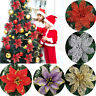 2/10x Glitter Artificial Poinsettia Christmas Flowers Xmas Tree Ornaments Decor