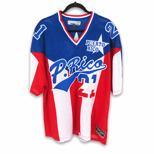 Puerto Rico Mega USA Red Flag Athletic Football Soccer Jersey #21 Men's XXL 2XL
