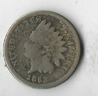 Rare Antique US 1863 Civil War Indian Head Penny Collection Cent Coin Lot:R31