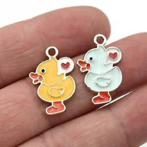 10Pcs Silver Enamel Duck Charm Pendant Jewelry Making Earrings DIY Accessorie