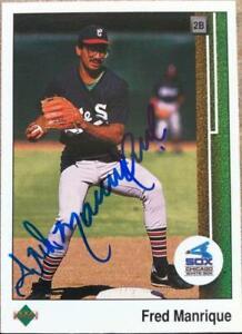 Fred Manrique Autographed 1989 Upper Deck #628 ERR (Ozzie Guillen on Back)