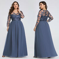 Ever-pretty US Long Plus Size Evening Prom Gowns 3/4 Sleeve Formal Party Dresses