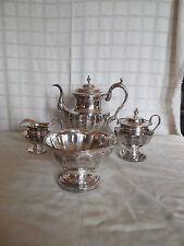 Vintage silver on copper coffee/tea set w/ creamer,sugar  & waste bowl