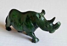 "Green soapstone Rhino rhinoceros collectible figurine animal 2.5"" x 4.5"" *notes"