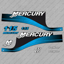 Mercury 115hp EFI SaltWater outboard engine decals BLUE sticker set reproduction