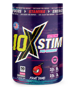 10X Athletic EXTREME STIM pre-workout. 50 scoops. product of USA