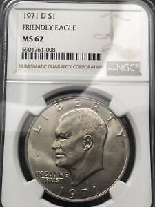 1971 D Ike Eisenhower Dollar NGC MS 62 Friendly Eagle FS-901 High Grade RARE 008