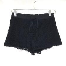 NWOT Topshop Floral Crochet Shorts Pull On Black Casual Boho Sz 4 US/8 UK A5