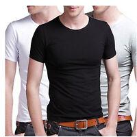 Men fashion casual short sleeve slim cotton Lycra Round Neck T-shirt Stretchy
