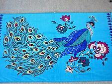 Nwt Peacock Beach Bath Pool Cotton Towel Gypsy Hippie Boho Blue Purple Pink