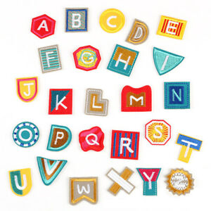 26x Embroidered Letter Iron On Sew On Patches Badge Fabric Applique Craft  B^lk