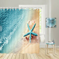 Tropical Beach Shower Curtain Ocean Waves and Starfish Bathroom Decor Accessory