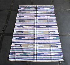 Tribal Kilim Handmade 80% Silk 20% Cotton  Area Rug Flat Striped Wave Rug