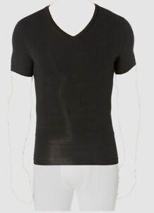 $58 Spanx Men's Undershirt Black Cotton Body Compression V-Neck T-Shirt Size XL
