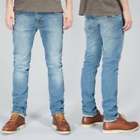 Nudie Herren Slim Fit Bio Denim Stretch Jeans Hose - Thin Finn Tender Blues
