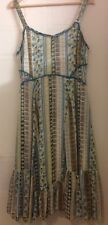 Marks and Spencer per Una Beaded Strap Green Tiered Midi Lined Dress 16 L 44