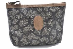 Authentic YVES SAINT LAURENT Pouch PVC Leather Gray Brown C3520