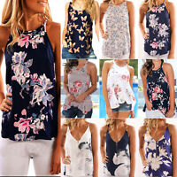 Women's Summer Vest Floral Sleeveless Shirt Blouse Tee Beach Tank Tops T-Shirt