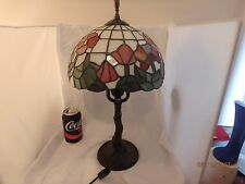 Portable floral stained glass Tiffany style table lamp