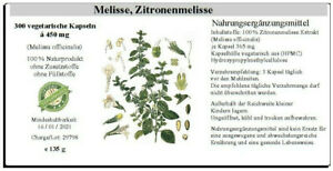 Melisse, Zitronenmelisse 300 Kapseln (melissa officinalis) 100% vegan, 135 g