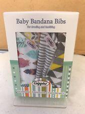 4 Pack Giggles Baby Bandana Bibs, Unisex, Adjustable, 100% Cotton