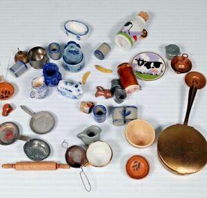 Misc Miniature DollHouse KitchenWare Metal Porcelain Cup Saucer Plates Pots Pans