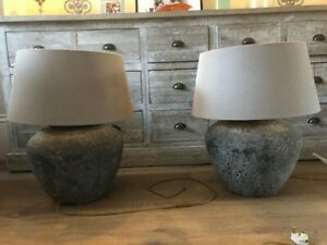 3 Antique Table lights, distressed pot style