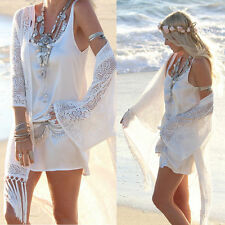 Women's Lace Tassels Crochet Cardigan Beach Bikini Cover Up Long Kaftan Dresses