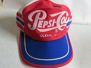 Vintage PEPSI-COLA 3 Stripe Snapback Trucker Hat Cap Red White Blue -OLEAN NY