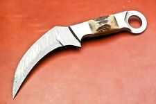 CUSTOM HAND FORGED DAMASCUS KARAMBIT HUNTING KNIFE  - FULL TANG - #394