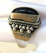 black onyx ring, size 7, silver plated, nice granulation and scroll work