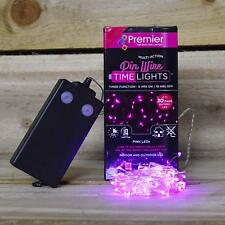 Premier 200 Pink LED Battery Operated Multi-Action Pin Wire Lights with Timer