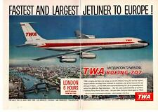 1959 TWA Airlines Intercontinental Boeing 707 Jet London 6 Hours 2-Page Print Ad