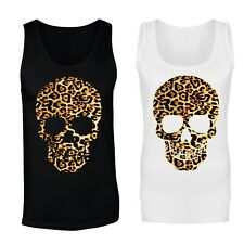 Cráneo con Estampado de Leopardo Chaleco Camiseta sin mangas-Tallas para Mujeres, Para Hombre
