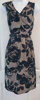 Womens Per Una Dress size 12 fit&flare black grey belt flower work business vgc