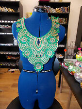 green crystal sequin lace collar YOKE chest applique motif moroccan arab asian