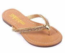 Gold Cute Kids Rhinestone Girls Flat Youth Slippers Flip Flops Shoes Size 11