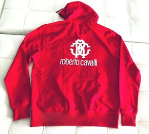 NWT Roberto Cavalli Logo Hoodie Full Zip Fleece Jacket Sweatshirt RED Men XL
